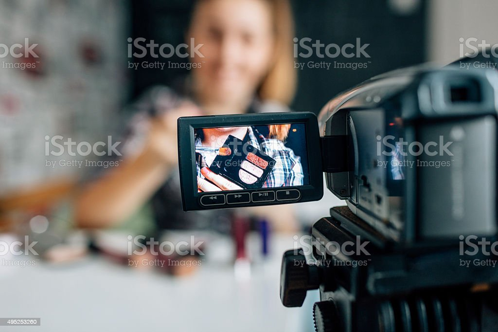 Teenage girl Making Her Video Blog. stock photo