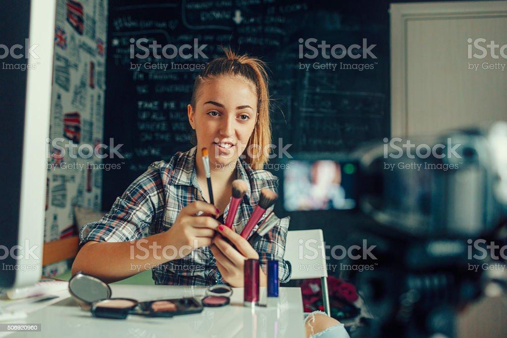 Teenage girl Making Her Video Blog. stock photo