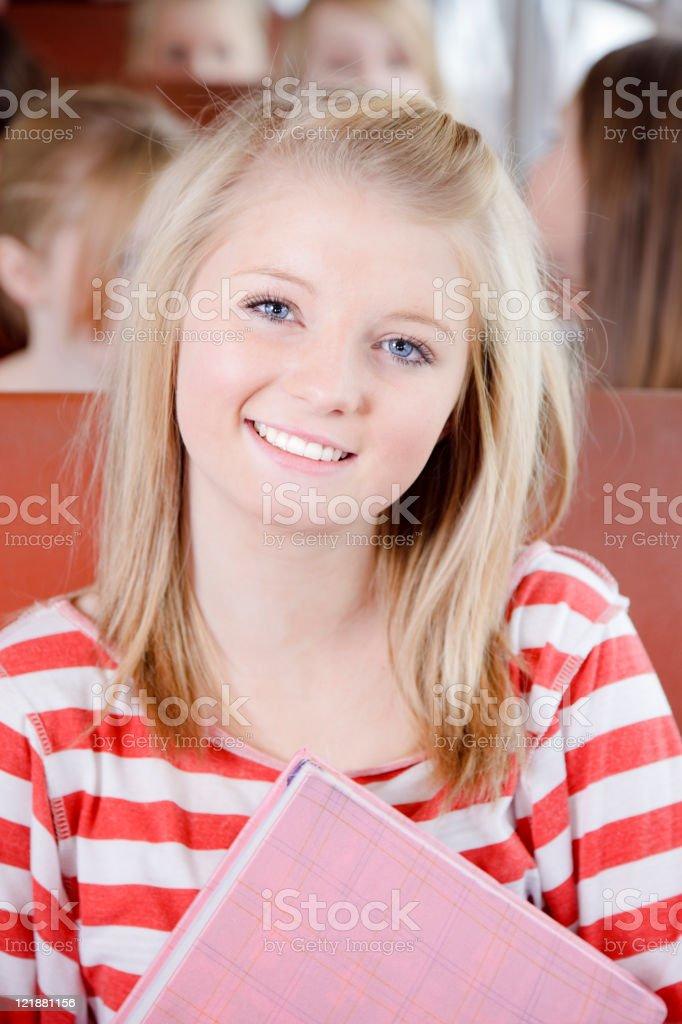 Teenage Girl on a School Bus royalty-free stock photo