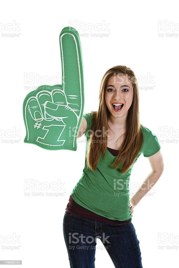 Teenage girl on white stock photo