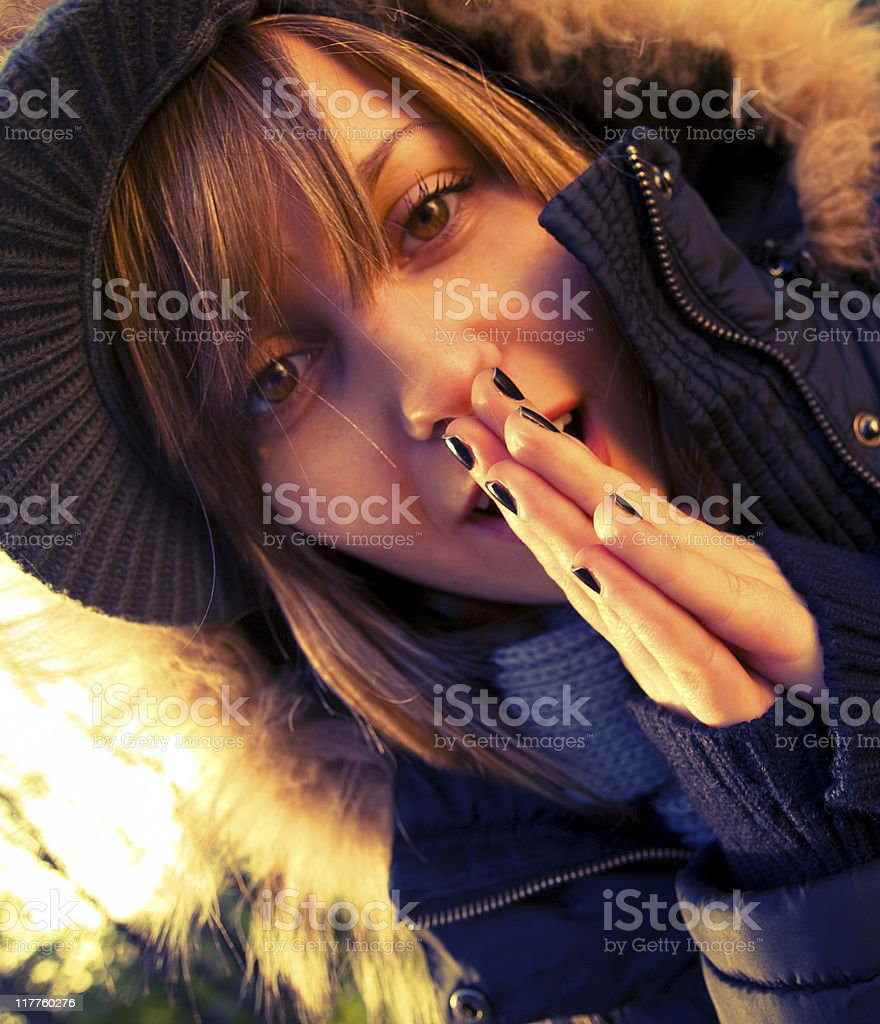 Teenage girl outdoors royalty-free stock photo