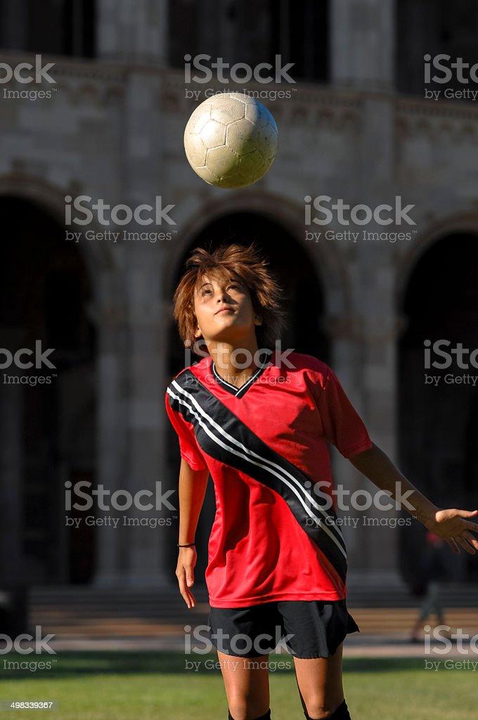 Teenage Girl Playing Football Soccer royalty-free stock photo