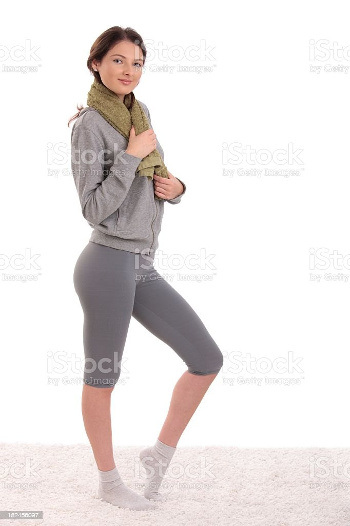 Teenage girl ready for workout royalty-free stock photo