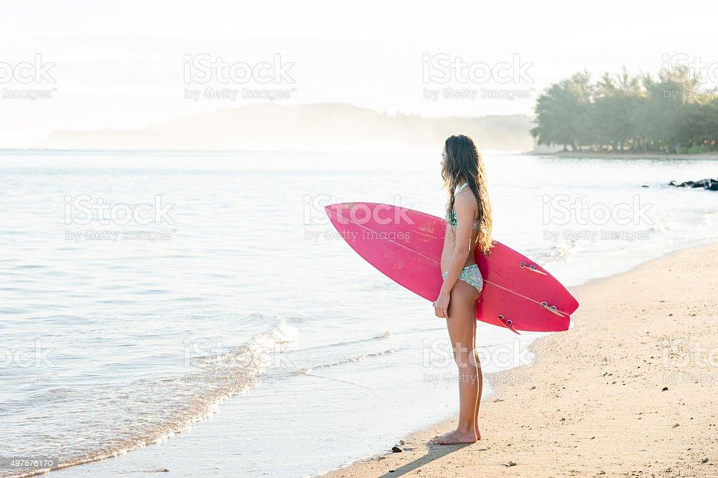 Teenage Girl Ready to Surf stock photo