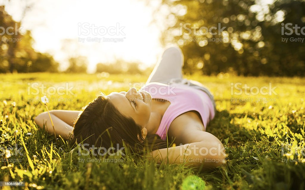 Teenage girl relaxing. stock photo