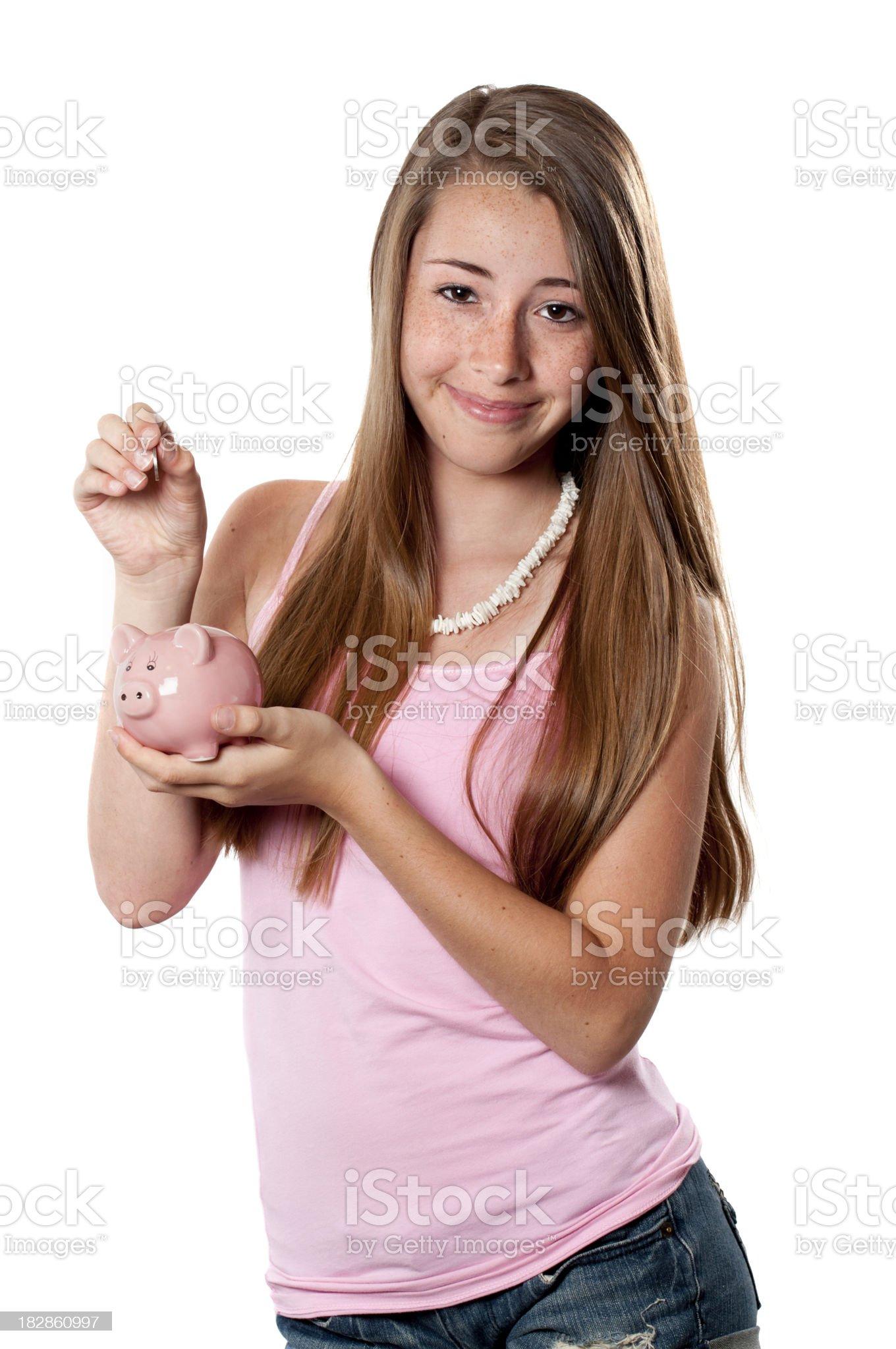 Teenage Girl Saving Money royalty-free stock photo