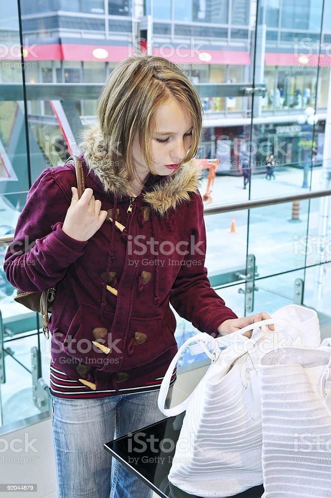 Teenage girl shopping royalty-free stock photo
