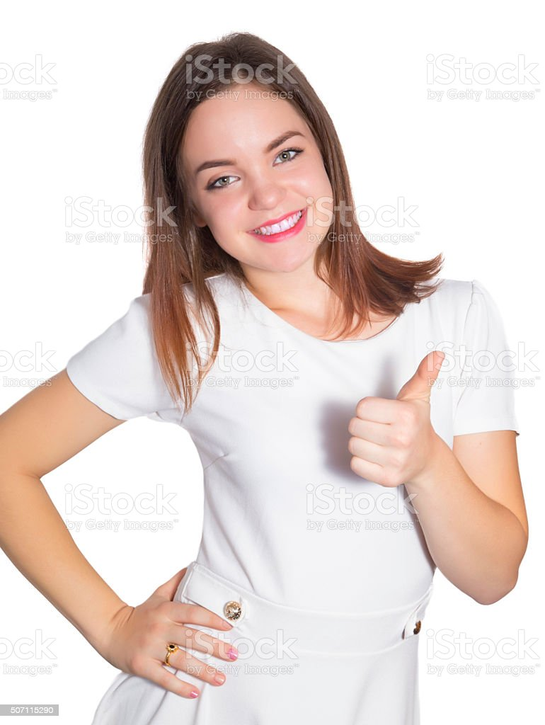 Teenage girl showing ok sign royalty-free stock photo