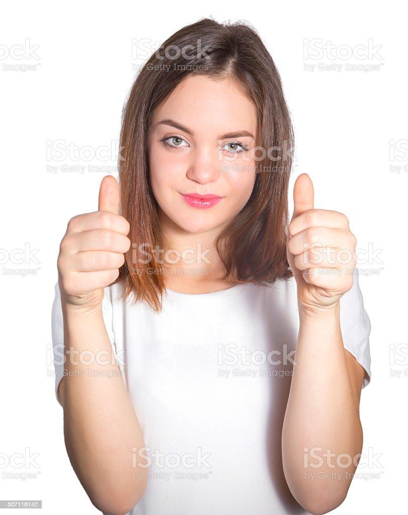 Teenage girl showing ok sign royalty-free stock photo