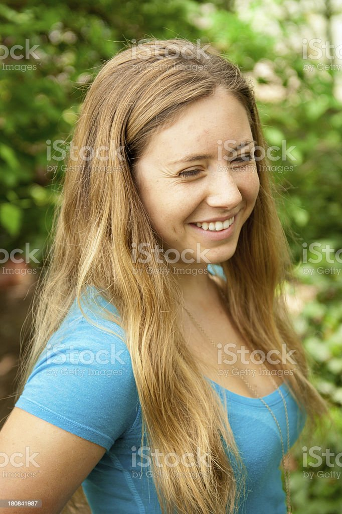 Teenage Girl Smiling royalty-free stock photo