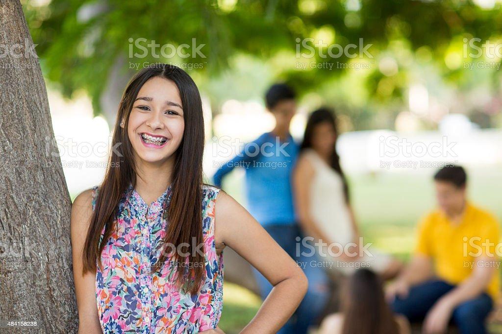 Teenage girl smiling stock photo