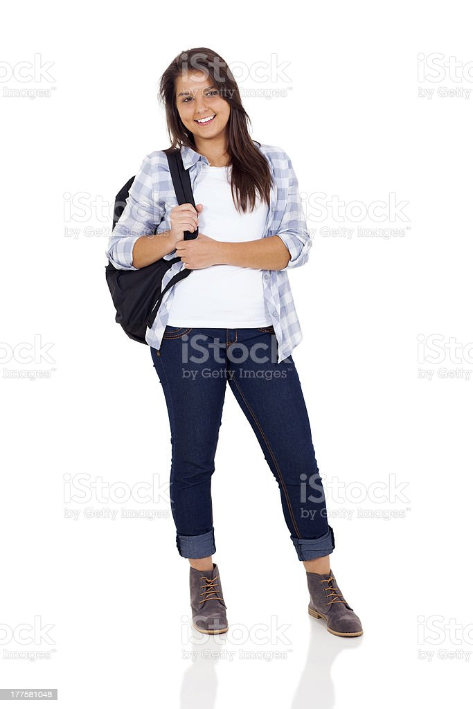 teenage girl standing on white background stock photo