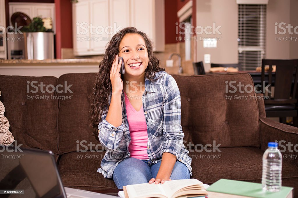Teenage girl studying or doing homework at home stock photo
