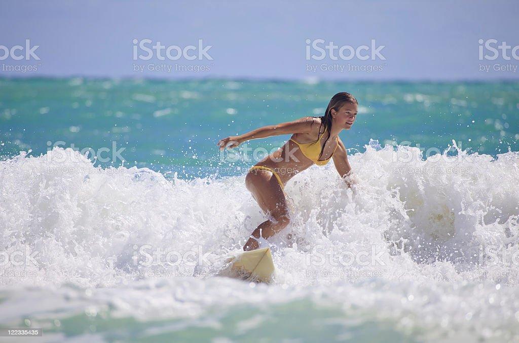 teenage girl surfing royalty-free stock photo