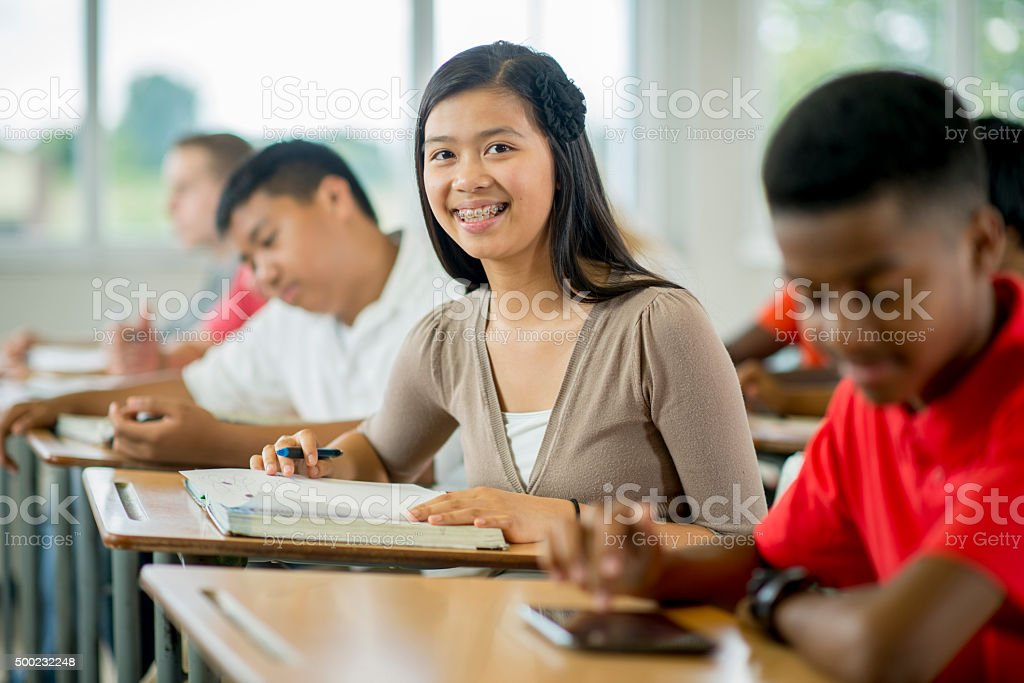 Teenage Girl Taking Notes stock photo