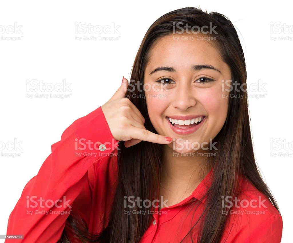 Teenage Girl, Telephone Hand Sign, Call Me Gesture stock photo