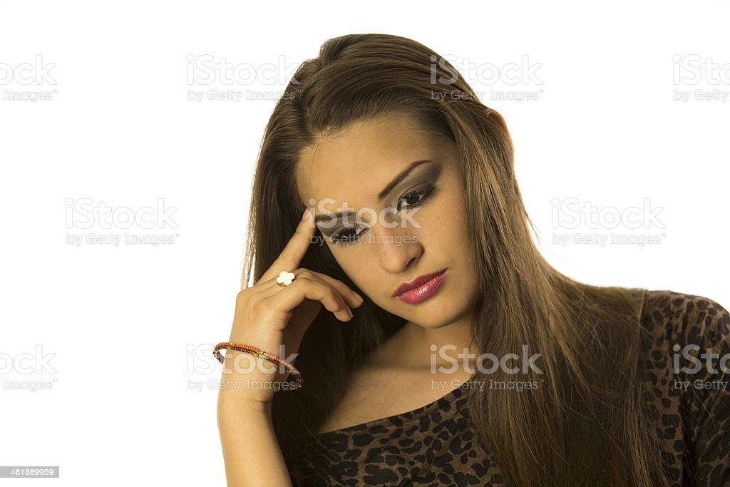 Teenage Girl Thinking Away stock photo