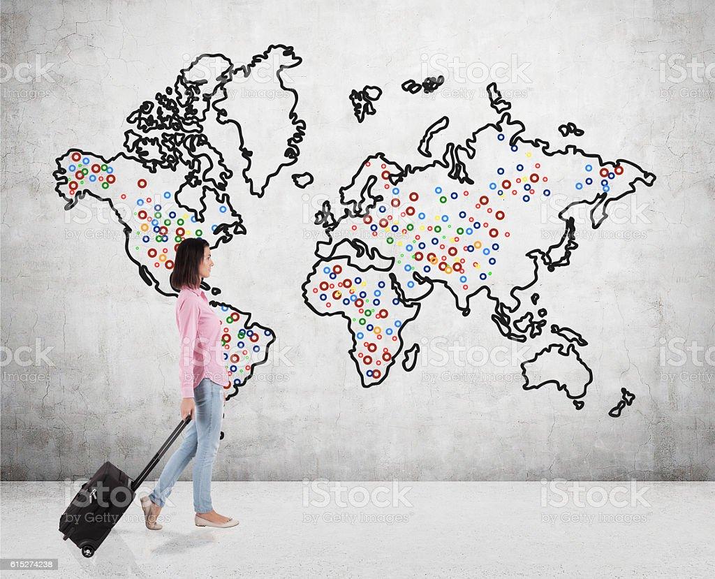 Teenage girl travelling around the world stock photo
