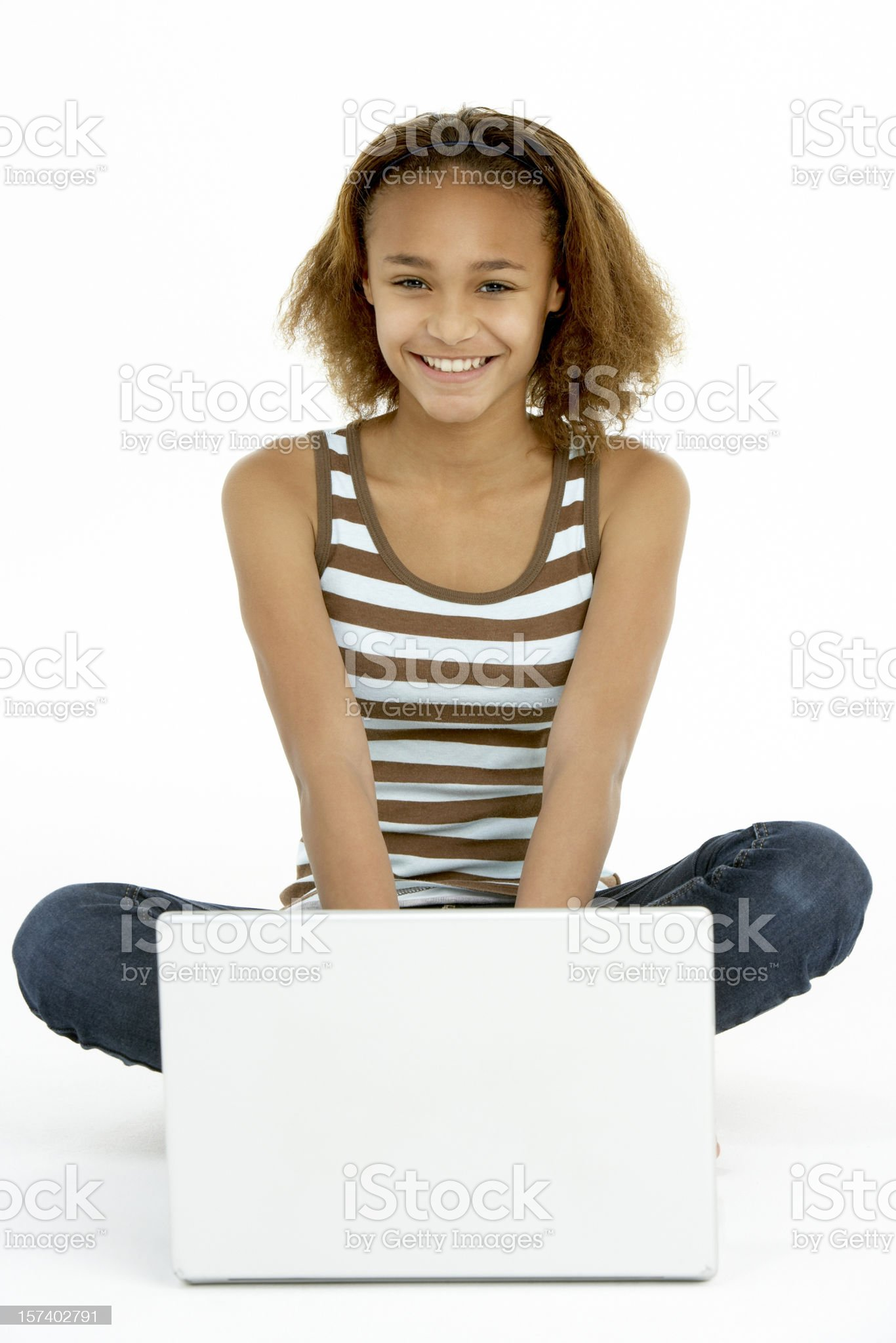 Teenage Girl Using Laptop royalty-free stock photo