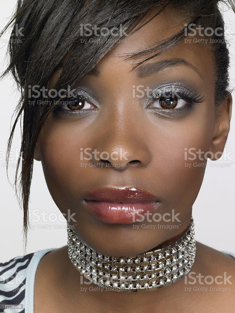 Teenage girl wearing a choker royalty-free stock photo