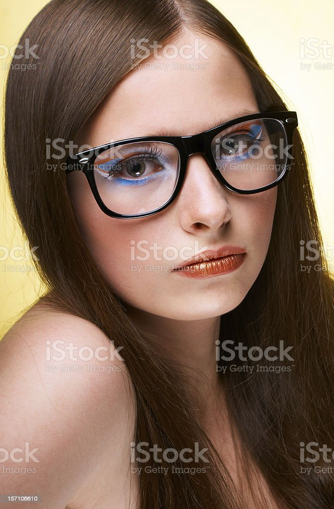 Teenage Girl Wearing Glasses royalty-free stock photo