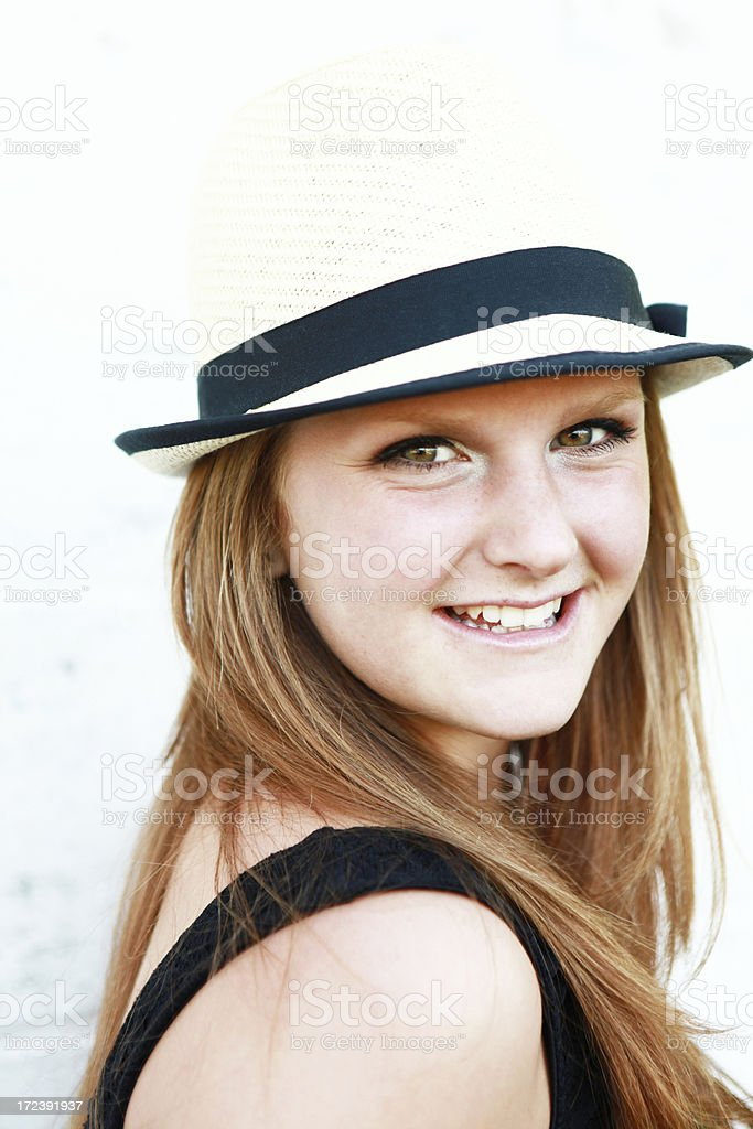 Teenage Girl Wearing  Hat royalty-free stock photo