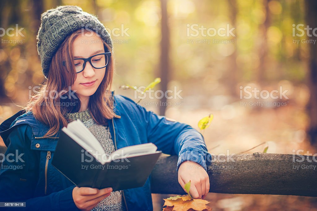 Teenage girl with a book in autumn park stock photo