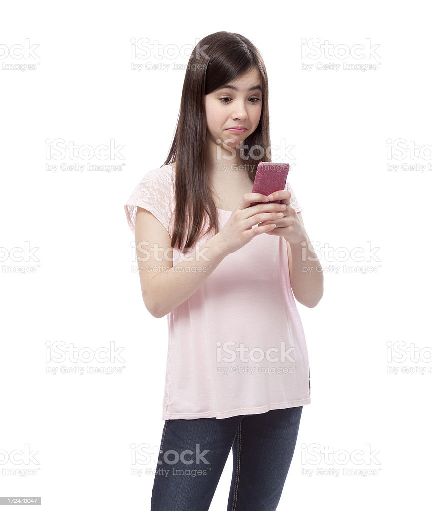 Teenage girl with a surprised expression royalty-free stock photo
