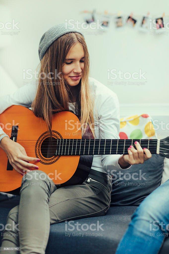 Teenage Girl With Acustic Guitar stock photo