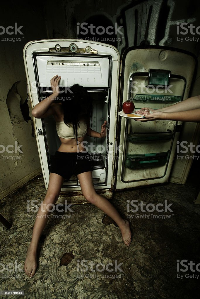 Teenage Girl with Anorexia Denying Food royalty-free stock photo