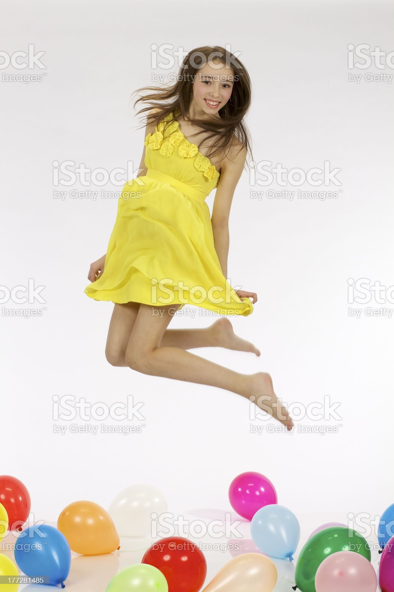 Teenage girl with balloons royalty-free stock photo