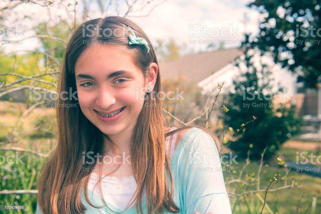 Teenage Girl with Braces royalty-free stock photo