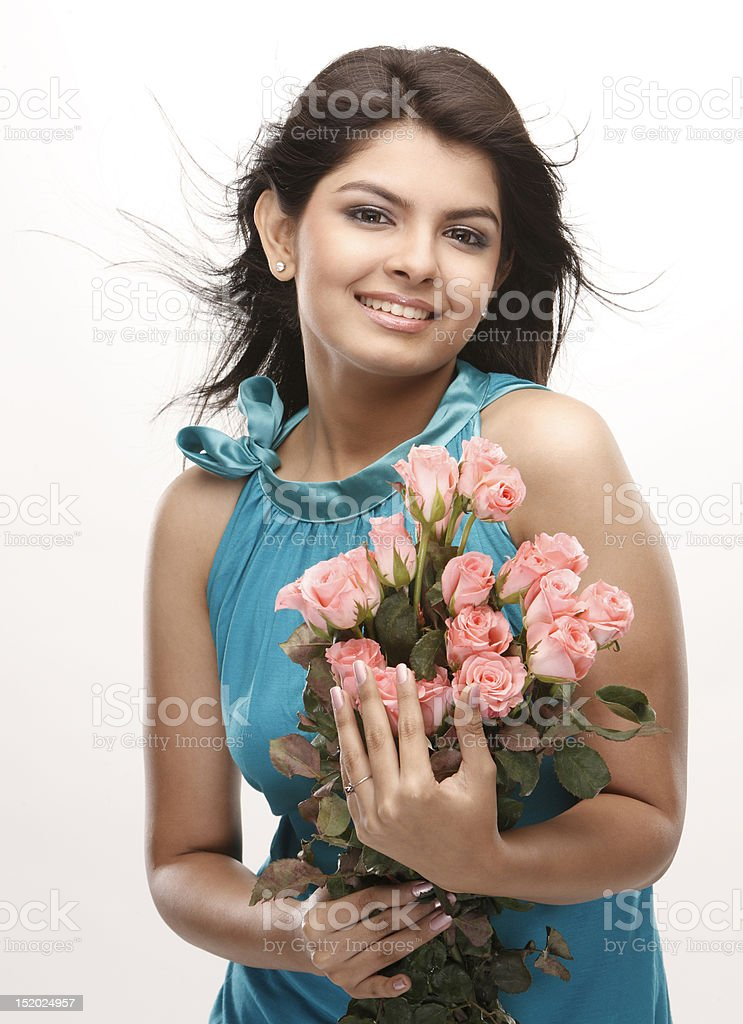 teenage girl with bunch of pink roses royalty-free stock photo