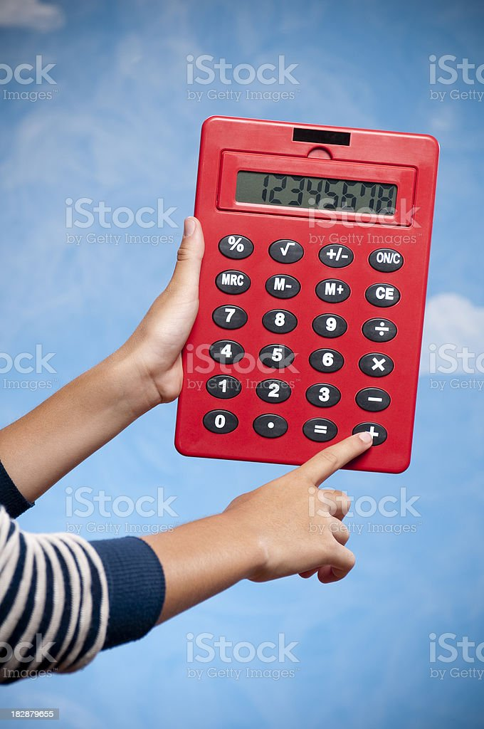 Teenage Girl With Calculator stock photo