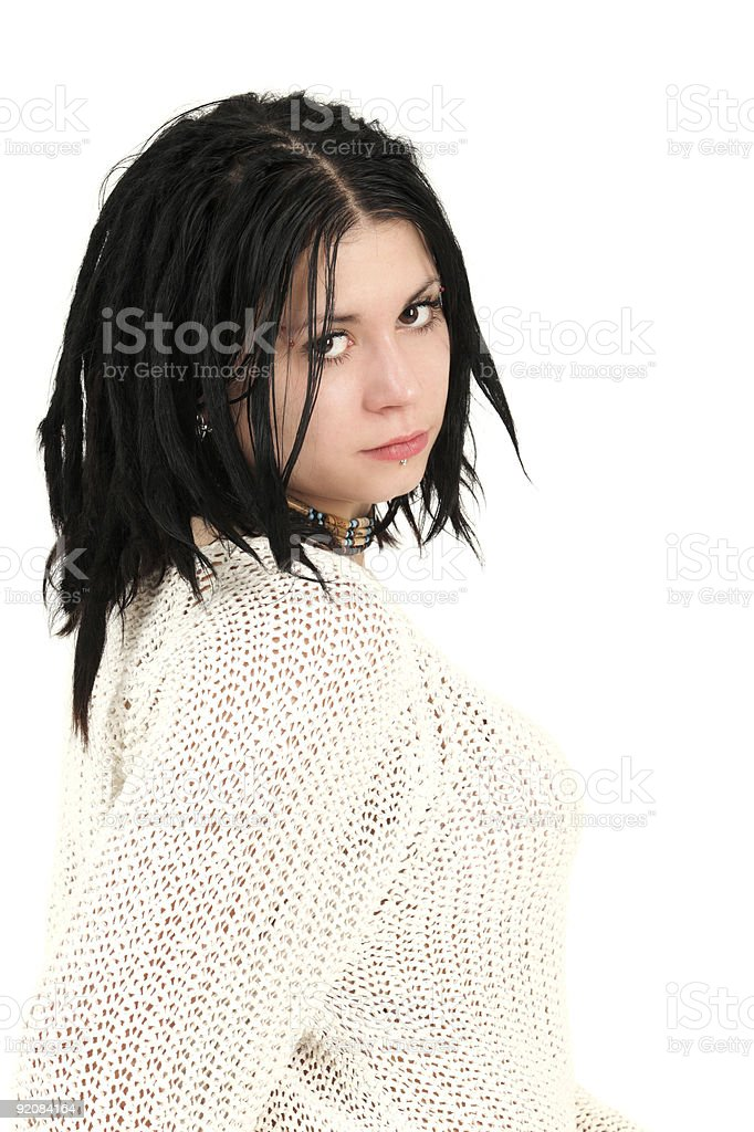 Teenage girl with face piercings stock photo