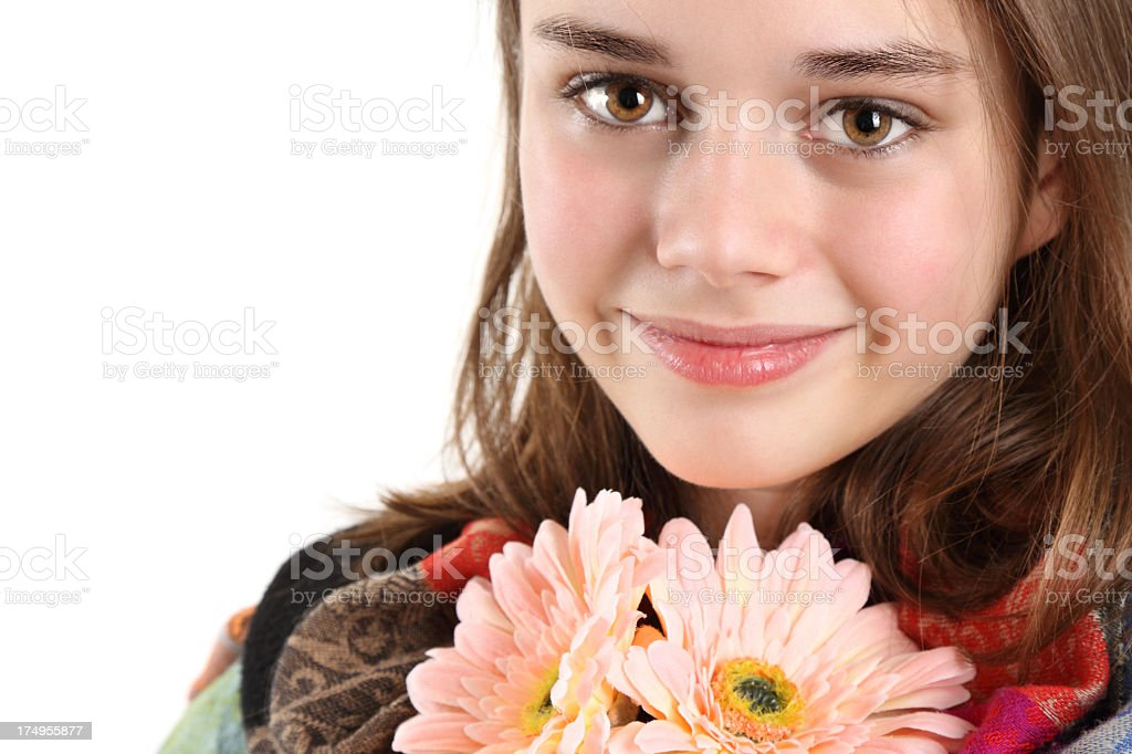 Teenage girl with flowers royalty-free stock photo