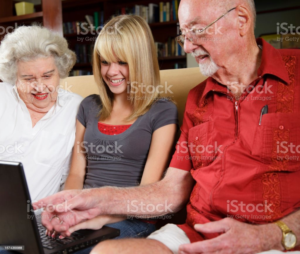 Teenage Girl with Grandparents royalty-free stock photo