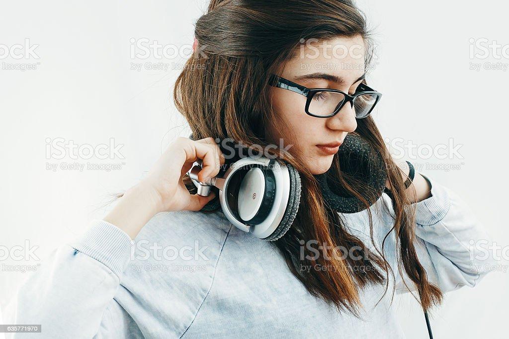 Teenage Girl with headphones stock photo