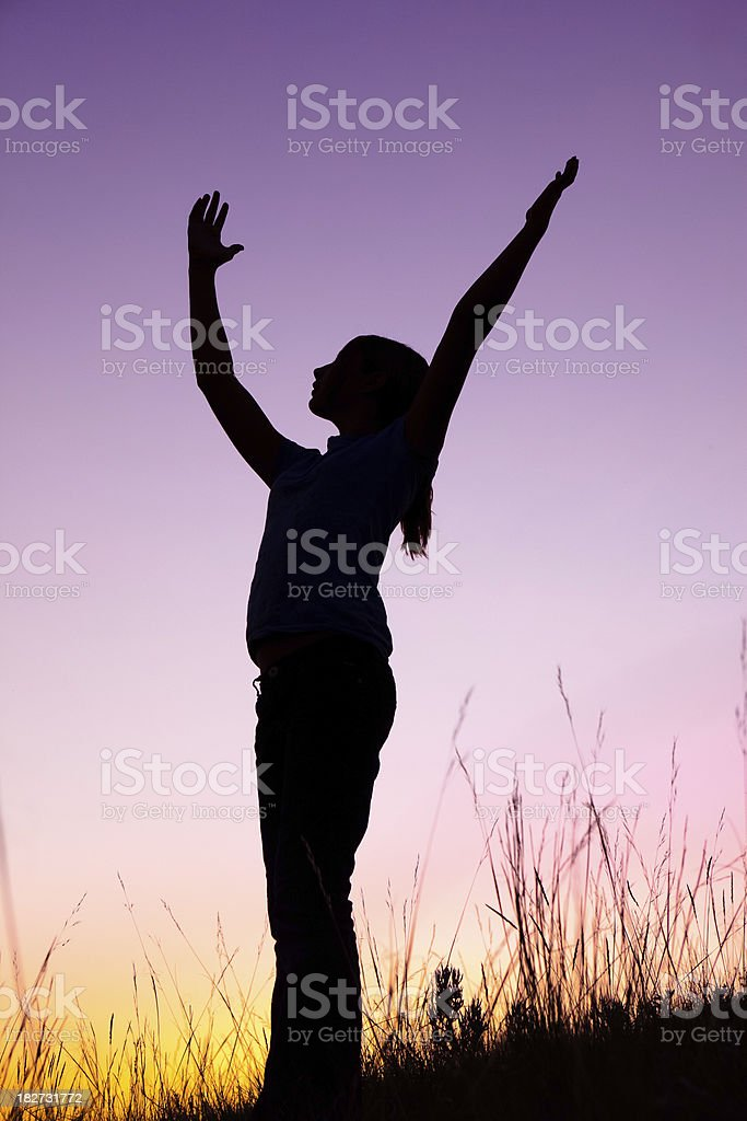 Teenage Girl With Outstretched Arms royalty-free stock photo
