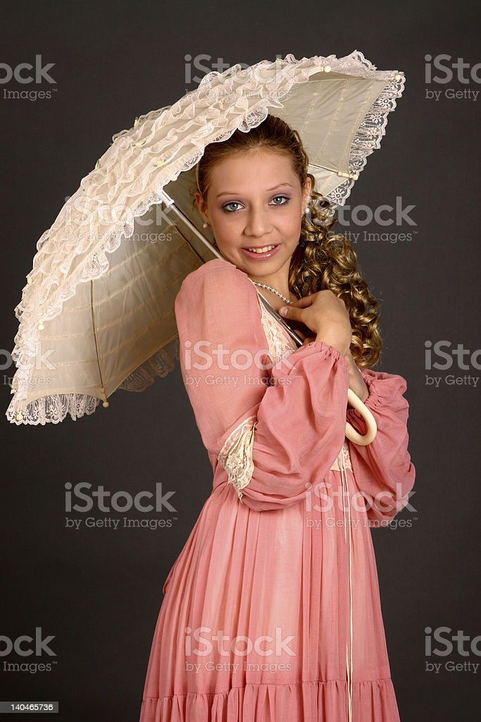 Teenage Girl With Parasol royalty-free stock photo