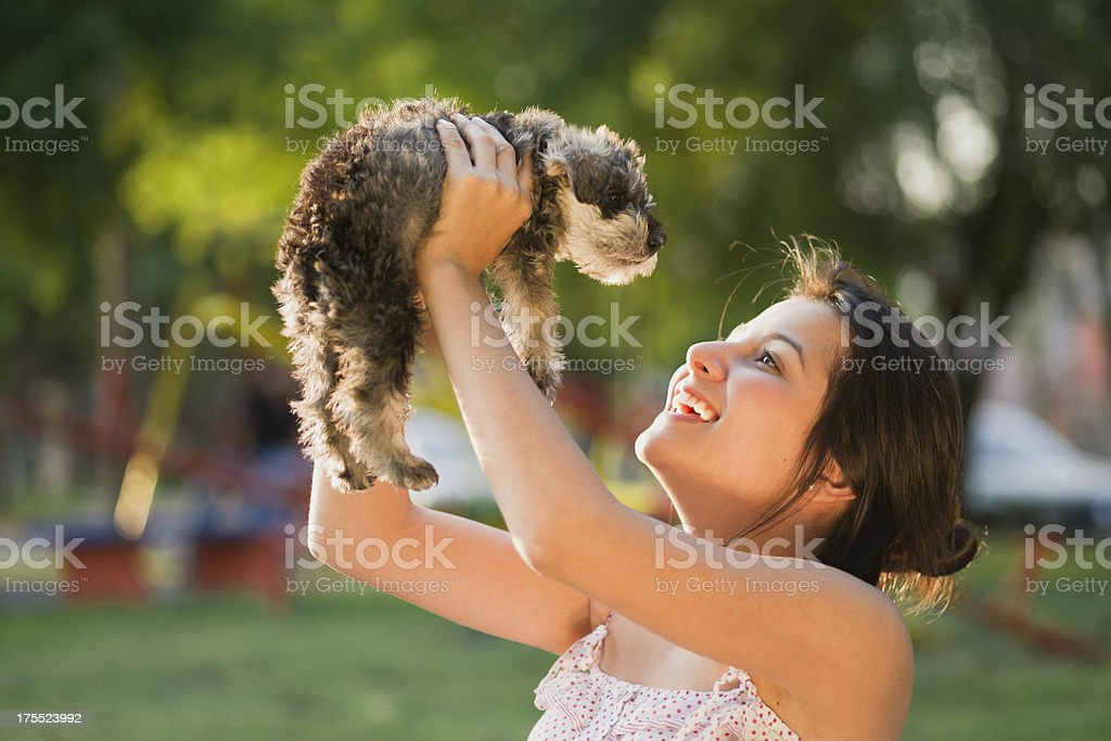 Teenage Girl with Puppy royalty-free stock photo