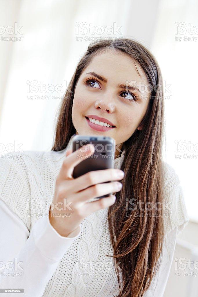 Teenage girl with smart phone royalty-free stock photo