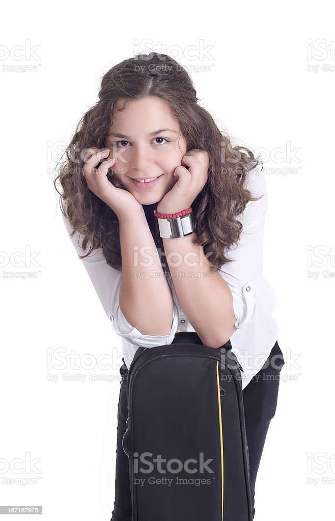 Teenage girl with trombone royalty-free stock photo
