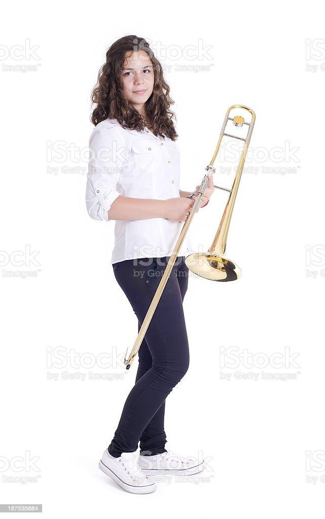 Teenage girl with trombone royalty-free stock photo
