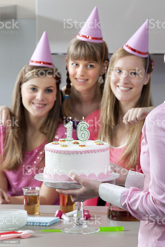 teenage girls celebrating 16th birthday royalty-free stock photo