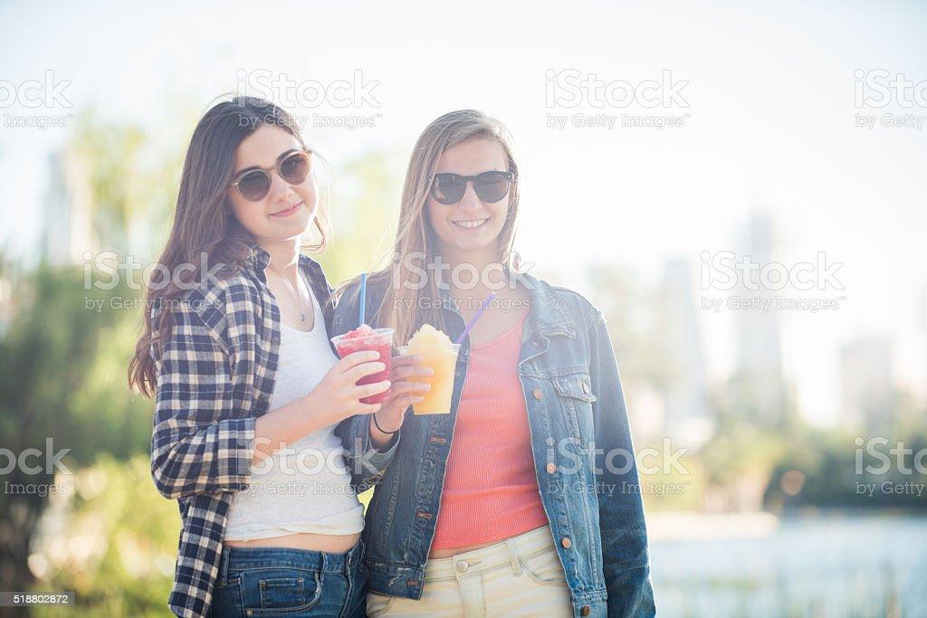 Teenage Girls Enjoying the View stock photo
