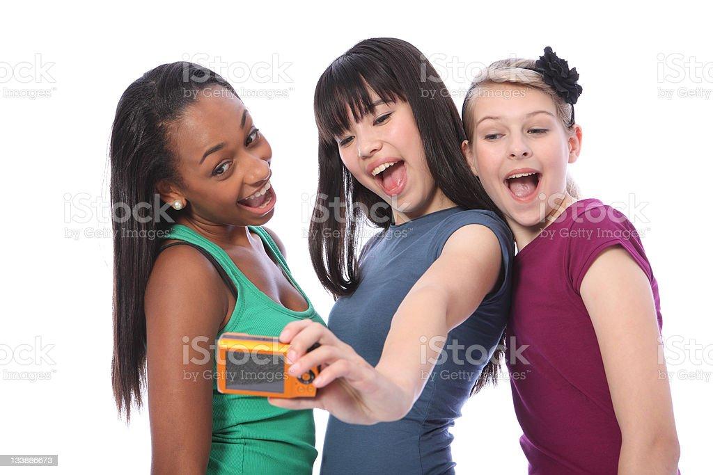 Teenage girls fun self portrait photography royalty-free stock photo