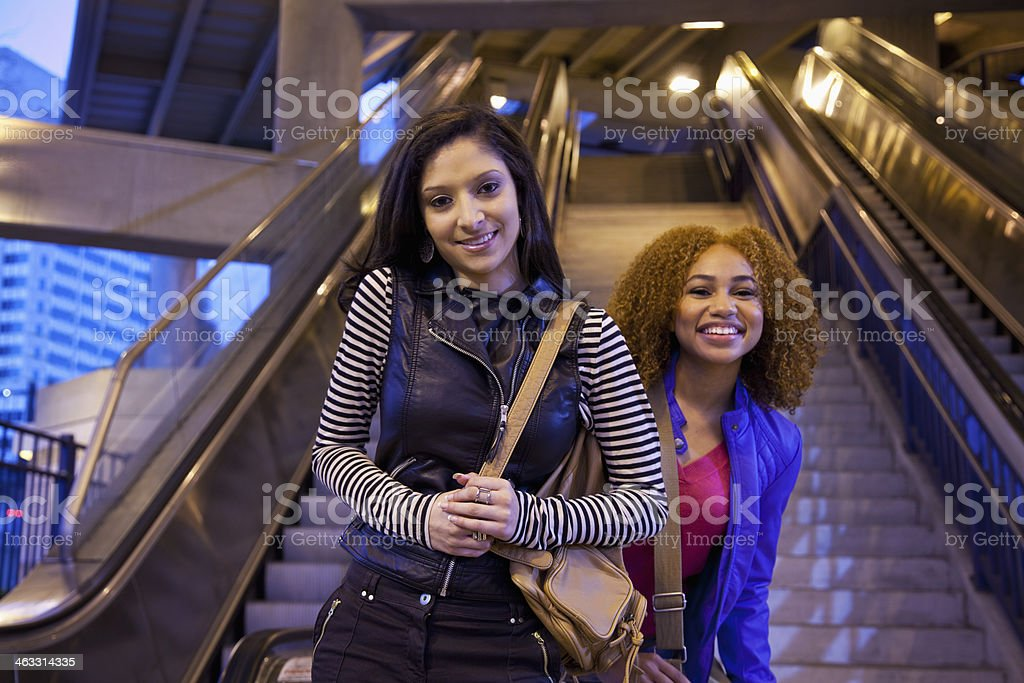 Teenage girls in city stock photo