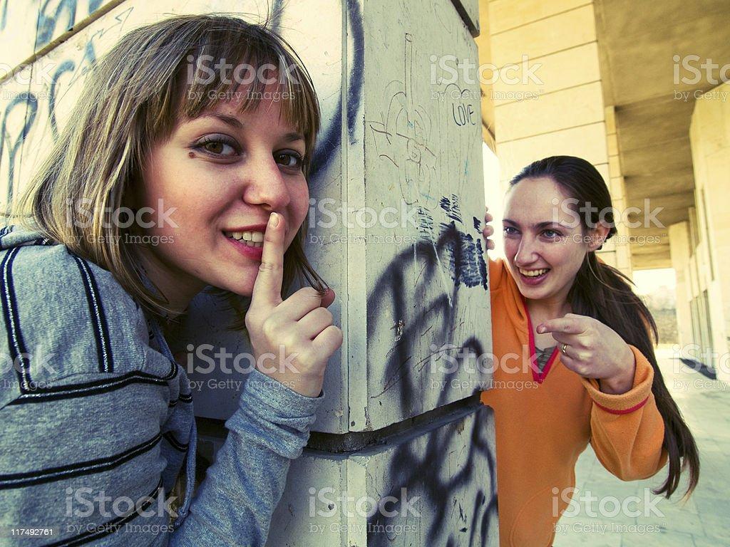 Teenage girls outdoors royalty-free stock photo