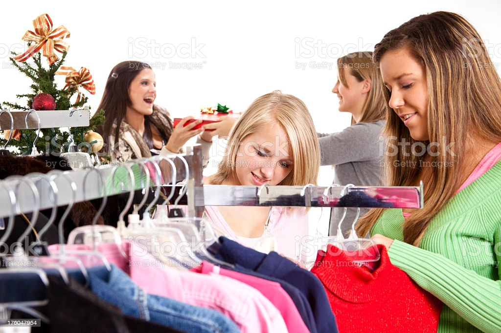 Teenage girls shopping for Christmas royalty-free stock photo